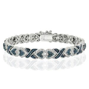 Blue Diamond Accent X and Heart Link Tennis Bracelet