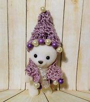POLAR BEAR Folk Art doll handmade ooak stocking cap hat and scarf beaded winter