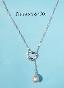 Tiffany & Co Elsa Peretti Sterling Silver Open Heart White Pearl Lariat Necklace