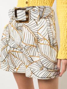 $345 NICHOLAS Naila Linen Short, Palm print, Ivory, Size US 2 / Small