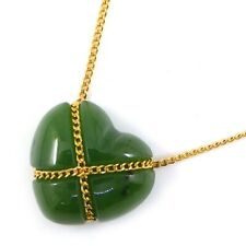 Auth Tiffany & Co. Necklace Chain Cross Heart Nephrite 750(18K) Yellow Gold