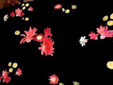 Antique French Villard Black Red Floral Satin Taffeta 5 yards Fabric