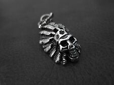 Indian SKULL Silver Pendant FREE NECKLACE for Harley Davidson Motor Biker 73