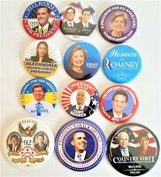 12 Presidential Campaign Buttons Clinton Obama McCain Romney more SET 72AA
