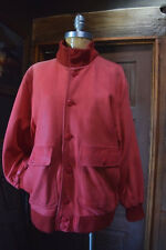 CASSIDY Womens Soft Faded Red Leather Bomber Jacket Size MEDIUM