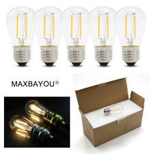 S14 E27 2W LED Edison Filament Globe Bulb Light Lamp Warm White AC220V DC12V