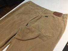 LEE 5 Pocket Corduroy Pants 34x31 AUSTRALIA Slouch Button Fly Khaki EUC