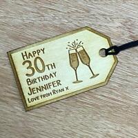 PERSONALISED Wooden Birthday Gift Tag Any Age Name Champagne Glass Style GT01