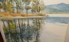PAUL YOUNGMAN LAKE FISHING LARGE ORIGINAL WATERCOLOR LANDSCAPE PAINTING