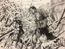 "Superman Vs Hulk ""Stand-off ""Art Sketch 14X17 NOT A PRINT !! Echevarria"
