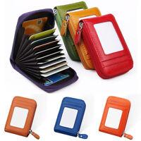 Women Credit Card Holder Wallet RFID Leather Zipper Purse ID Case Clutch Bag