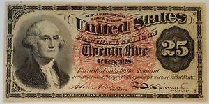 25 Cents 25c Fourth Issue Fractional Currency Washington Fr# 1301 Bright AU+