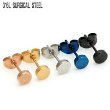 Unisex Surgical Steel Ear Stud Plug Anti-allergy Earring Jewelry 5 Colors Gifts