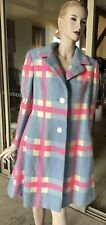 Vtg 70s Wool Blue Pink White Plaid Winter Coat M/L