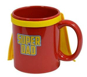 SUPERDAD COFFEE MUG WITH YELLOW SUPERHERO CAPE OR TEA CUP IDEAL GIFT