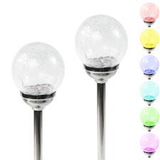 6 Large Dark Chrome Solar Crackle Glass Ball Path Lights Color Changing LED