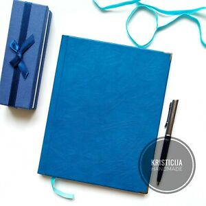 Handmade Leather Journal/Notebook/Diary/Notepad/Planner A5 Genuine Blue Leather