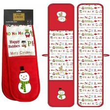 SNOWMAN FESTIVE XMAS RED DOUBLE KITCHEN OVEN COOKING BAKING GLOVES MITTS MITTENS
