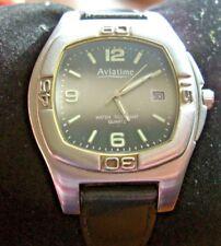 Gents Aviatime Two Tone Quartz Watch Working Day Date Black Leather strap
