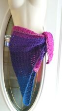 Troll purple lacey boho beach sarong swim wrap cover up crochet womans handmade