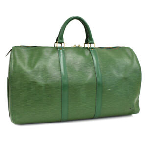 Auth LOUIS VUITTON Epi Keepall 50 M42964 Traveling bag Green Leather AL2565