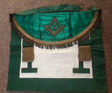 Vintage Masonic Apron. Emerald Green Freemasonry Past Masters Apron