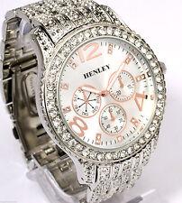 Mega Gran Tono Plateado Para Hombres Henley & Rose Oro Detalle brillante Cristal Bling Reloj