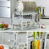2 Tier Stainless Steel Dish Drying Rack Large Capacity Kitchen Drainer Storage