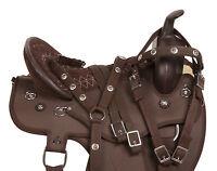 18 BROWN WESTERN PLEASURE TRAIL ENDURANCE MULE SADDLE HORSE TACK SET PAD