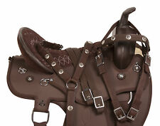 "GAITED 18"" SYNTHETIC BROWN WESTERN PLEASURE TRAIL HORSE SADDLE TACK SET"