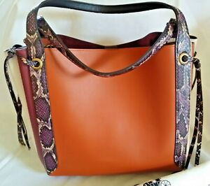 """NEW WITH TAGS! COACH Snake Skin Trimmed """"Harmony"""" Handbag-Sunset Multi"""