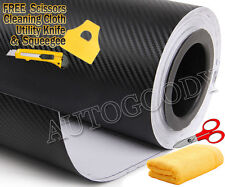 "48"" x 60"" Black Carbon Fiber Vinyl Wrap 3D Bubble Free Air Release 4ft x 5ft"