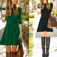 Women's Autumn Winter Long Sleeve Leisure Pleated Bodycon Cocktail Party Dress