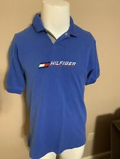 Vintage Tommy Hilfiger Athletics Spell Out Blue Short Sleeve Mens Polo Shirt M