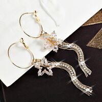 18K Yellow Gold Filled Simulated Diamond Sparkling Star Tassel Hoop Earrings