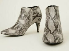Size 8 Eu 41 New Look Ladies Black Snakeskin Print Stiletto Ankle Boots Next Day