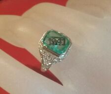 Rare Vintage 14K White Gold  Filigree 1941 on Emerald  Set On A Ring Size 5 1/4