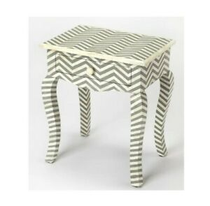 Bone Inlay side Cabinet Lamp Table Grey Zigzag (MADE TO ORDER)