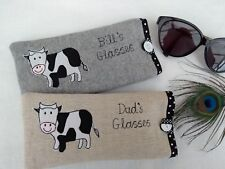 Handmade Personalised Cow Glasses Sunglasses Case Choice of name & fabric gift