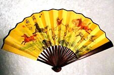 Asian Traditional Satin Bamboo 8 Horses Ma Dao Cheng Gong LARGE WALL FOLDING FAN
