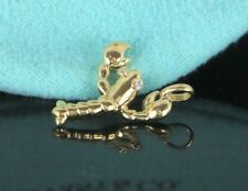 Tiffany & Co 18K Solid Yellow Gold Round Diamond Lobster Pendant Bracelet Charm