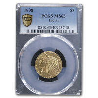 1908 $5 Indian Gold Half Eagle MS-63 PCGS - SKU #72438