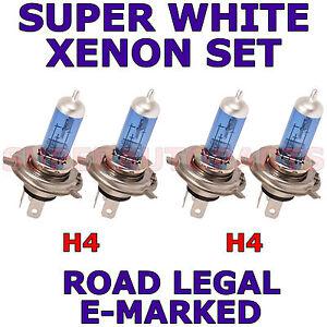 VOLVO 740 1984-92 SET OF 2X H4 SUPER WHITE HALOGEN LIGHT BULBS