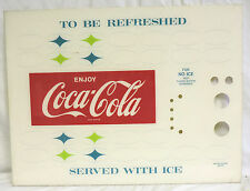 """VINTAGE """"COCA COLA TO BE REFRESHED SERVED WITH ICE""""  SIGN COKE MACHINE 30.5 X 23"""
