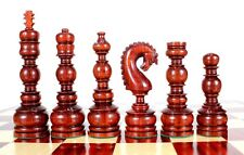 "Bud Rose wood Classy Knight Wooden Chess Set Pieces 6.5"" + 2 Extra Queens"