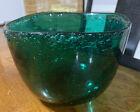 "Norway HADELAND Art Glass LARGE Green GREENLAND  BOWL 6"" SIGNED 4020"