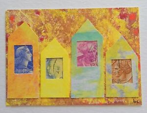 """""""A Different Time Line # 6"""" Original Collage Surrealism Mixed Media Art ACEO"""