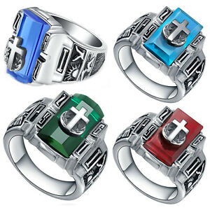 Men's Stainless Steel Vintage Cross on Crystal Ring (Size 6 to 13, US Seller)
