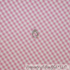 BonEful Fabric FQ Cotton Quilt Flannel Pink White Baby Girl Gingham Check Calico