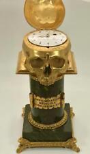 "MUSEUM gild bronze C.Perret Verge Fusee Doctors Skull ""Memento Mori"" desk clock"